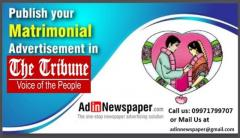 Matrimonial Ad Booking for The Tribune Newspaper