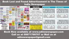 Lost and Found Ads for Times of India Newspaper