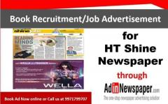 HT Shine Advertisement, Recruitment Ad in HT Shine