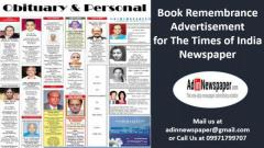Remembrance Display Ads in The Times of India Newspaper