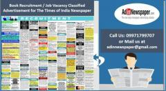 Book Times of India Recruitment Classified Advertisement