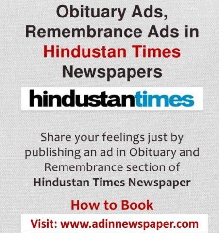 Hindustan Times Remembrance Display Advertisement