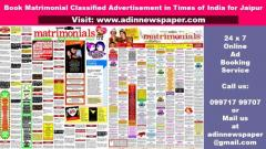 Times of India Jaipur Matrimonial Classified Advertisement