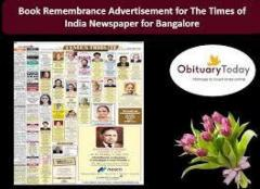 Obituary Ads in Times of India Newspaper for Bangalore Online