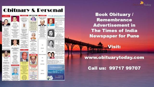 Times of India Pune Obituary Advertisement from Obituarytoday