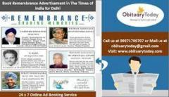 Book Remembrance Ads in Times of India Newspaper for Delhi
