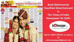 Get Matrimonial Classified Advertisement in Times of India