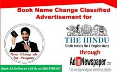 Book The Hindu Name Change Classified Advertisement