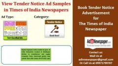 Book Times of India Tender Notice Advertisement Online