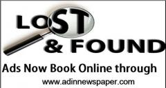 Book Lost and Found Advertisement in Any Newspaper Online