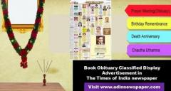 Publish Obituary Classified Display Ads in Times of India Newspaper