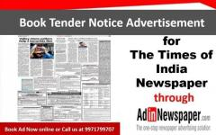 Book Tender Notice Display Advertisement in Times of India Newspaper