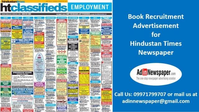 HT Recruitment Classified Ad Booking Online at Adinnewspaper