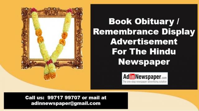 Book The Hindu Obituary Display Ads