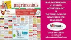 Times of India Bangalore Matrimonial Ad Rates