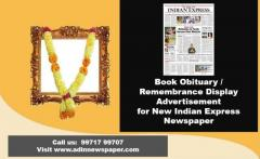 Obituary Display Ad Booking for New Indian Express Newspaper