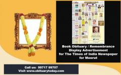 Times of India Meerut Obituary Advertisement Rates