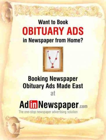 Get Obituary Newspaper Advertisement Rates Online