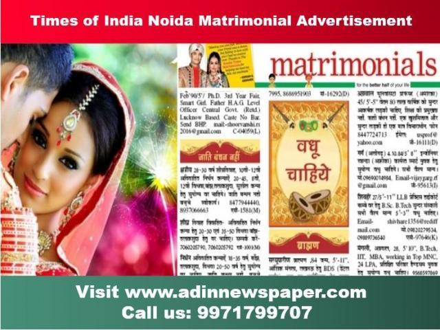 Find TOI Noida Matrimonial Classified Advertisement Rates
