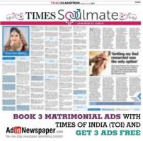 Get Times of India Hyderabad Matrimonial Classified Ad Rates