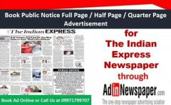 Find The Indian Express Public Notice Display Ad Rates