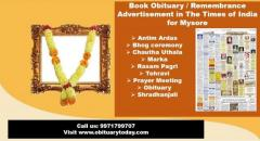 Find Times of India Mysore Obituary Ad Booking Rates