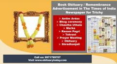 Get Times of India Trichy Obituary Advertisement Rates