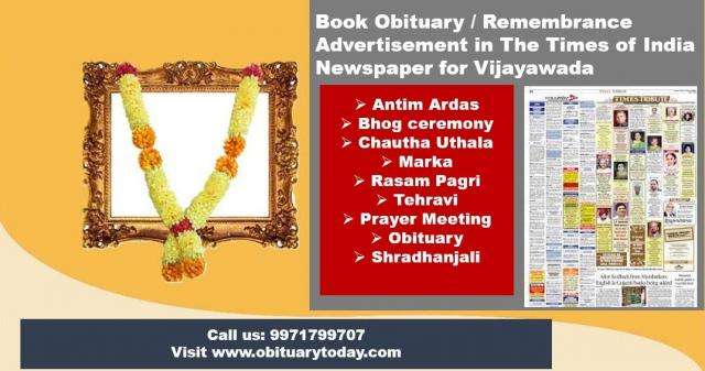 Find Times of India Vijayawada Obituary Ad Booking Rates