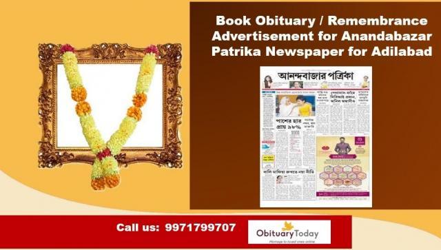 Anandabazar Patrika Adilabad Obituary Advertisement Rates